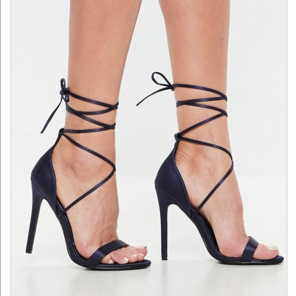 f5b152b20701 Missguided Navy Satin Lace Up Barely There Heels